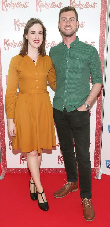 Aoife McMorrow and Donal Kitt at the opening of the musical Kinky Boots at the Bord Gais Energy Theatre, Dublin.  Picture: Brian McEvoy