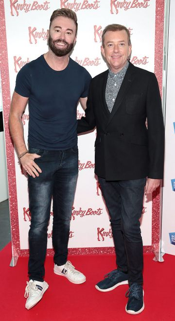 Karl Broderick and Alan Hughes  at the opening of the musical Kinky Boots at the Bord Gais Energy Theatre, Dublin.  Picture: Brian McEvoy