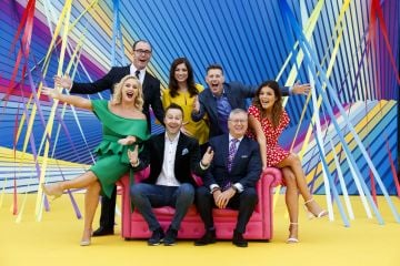 Brian Redmond, Joanne Cantwell, Dermot Bannon with (front) Loraine Barry, Keith Barry , Joe Duffy and Doireann Garrihy as RTÉ today announced a slate of new impactful Irish programming, star signings and a strong focus on climate as part of its upcoming new season. Picture: Andres Poveda