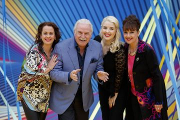 Marty Whelan pictured with Fair City's Neili Conroy, Rebecca Grimes and Tina Kellegher as RTÉ today announced a slate of new impactful Irish programming, star signings and a strong focus on climate as part of its upcoming new season. Picture: Andres Poveda