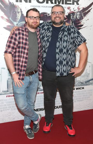 Colm McGlone and David Cashman at the special preview screening of The Informer at the Lighthouse Cinema Dublin. Pic: Brian McEvoy