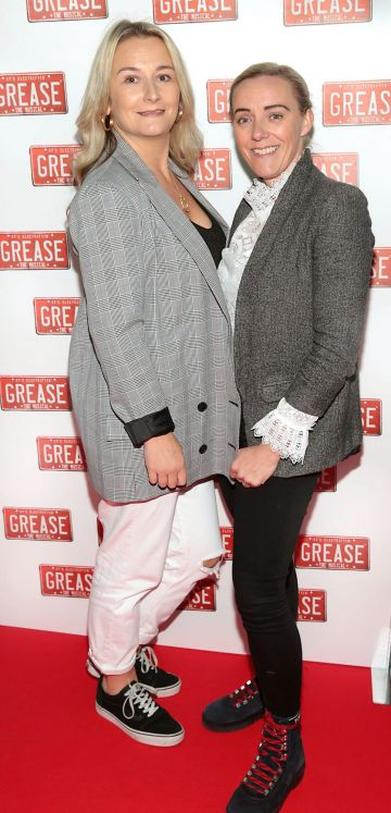 Lisa Marie Berry and Rachel Murray pictured at the opening night of the musical Grease at the Bord Gais Energy Theatre, Dublin. Pic: Brian McEvoy