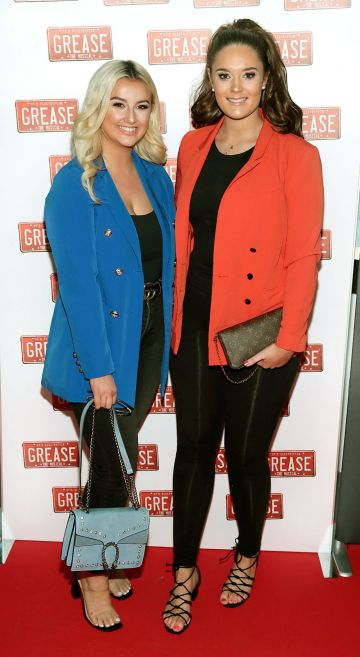 Lola Keegan and Alexandra Malone  pictured at the opening night of the musical Grease at the Bord Gais Energy Theatre, Dublin. Pic: Brian McEvoy