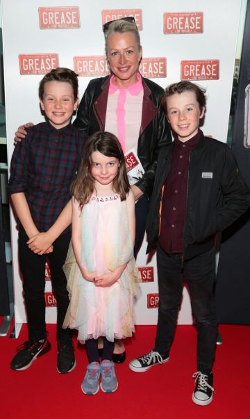 Corina Whlean with children  Eoin ,Rose and Matt pictured at the opening night of the musical Grease at the Bord Gais Energy Theatre, Dublin. Pic: Brian McEvoy