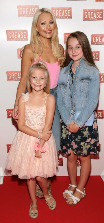 Kerri Nicole Blanc with daughter Kayla and Ava Fairbrother Blanc pictured at the opening night of the musical Grease at the Bord Gais Energy Theatre, Dublin. Pic: Brian McEvoy