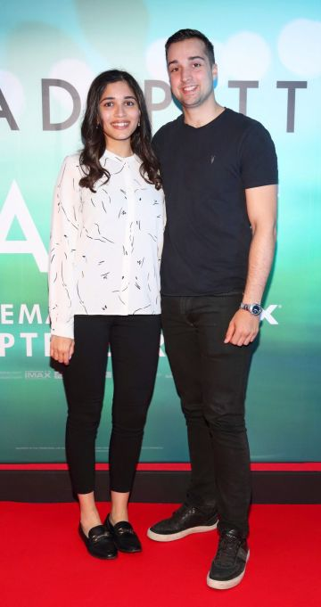 Puja Singh and Alex Chawla  at the special preview screening of Ad Astra at Cineworld, Dublin. Pic: Brian McEvoy Photography