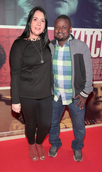 Kunle Elukanlo and Alison Elukanlo at the special preview screening of The Kitchen at Cineworld, Dublin.  Picture: Brian McEvoy