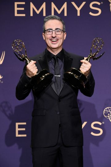 John Oliver poses with award for Outstanding Variety Talk Series in the press room during the 71st Emmy Awards at Microsoft Theater on September 22, 2019 in Los Angeles, California. (Photo by Frazer Harrison/Getty Images)