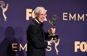 "Don Roy King pose with the Emmy for Outstanding Directing For A Variety Series ""Saturday Night Live"" during the 71st Emmy Awards at the Microsoft Theatre in Los Angeles on September 22, 2019. (Photo by Robyn Beck/Getty Images)"