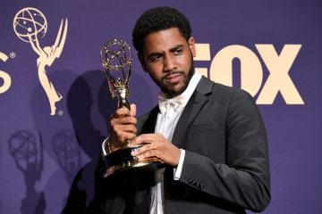 Jharrel Jerome poses with award for Outstanding Lead Actor in a Limited Series or Movie in the press room during the 71st Emmy Awards at Microsoft Theater on September 22, 2019 in Los Angeles, California. (Photo by Frazer Harrison/Getty Images)