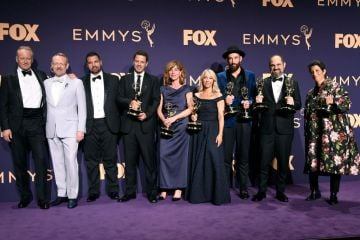 Cast and crew of 'Chernobyl ' pose with awards for Outstanding Limited Series in the press room during the 71st Emmy Awards at Microsoft Theater on September 22, 2019 in Los Angeles, California. (Photo by Frazer Harrison/Getty Images)