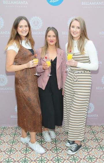 Louise Evans, Leila Whitman and Daisy Longden at the Bellamianta Tan Glow Gorgeous Gift Set launch with Boots at House, Dublin.   Pic: Brian McEvoy.