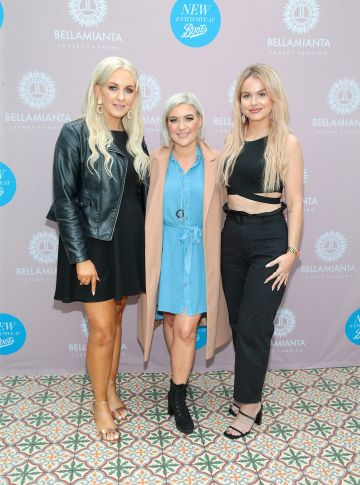 Aisling Kelly,Donna Blaker and Leah May at the Bellamianta Tan Glow Gorgeous Gift Set launch with Boots at House, Dublin.   Pic: Brian McEvoy.
