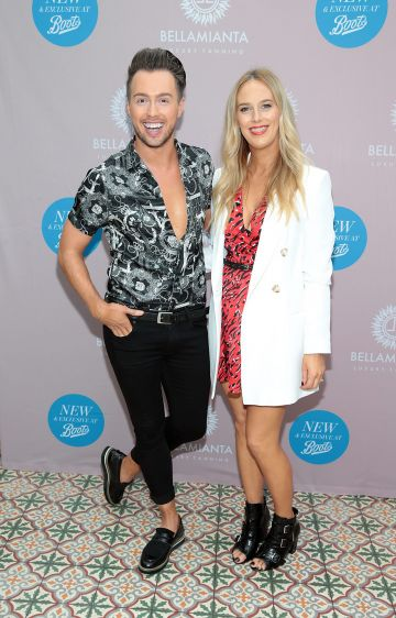 Mark Rogers anf Katharine Taylor at the Bellamianta Tan Glow Gorgeous Gift Set launch with Boots at House, Dublin.   Pic: Brian McEvoy.