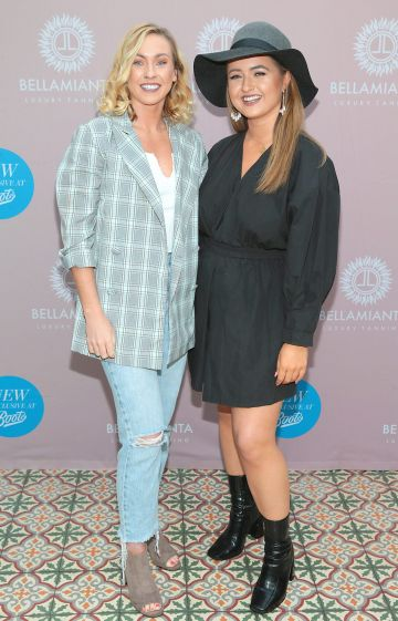 Bronagh Smyth and Aisling Campbell at the Bellamianta Tan Glow Gorgeous Gift Set launch with Boots at House, Dublin.    Pic: Brian McEvoy.