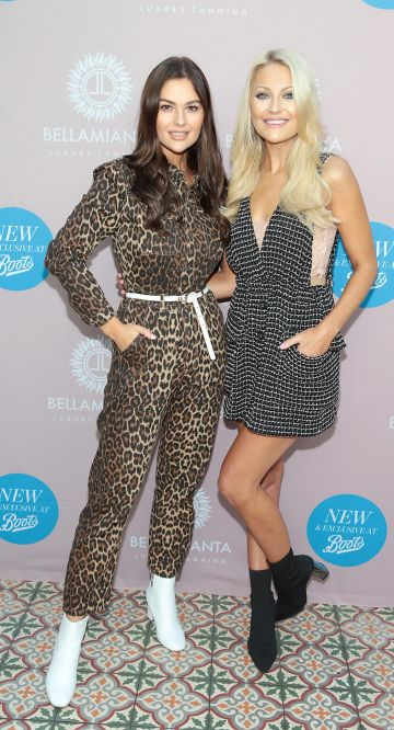 Natalia Petric and Kerri Nicole Blanc at the Bellamianta Tan Glow Gorgeous Gift Set launch with Boots at House, Dublin.   Pic: Brian McEvoy.