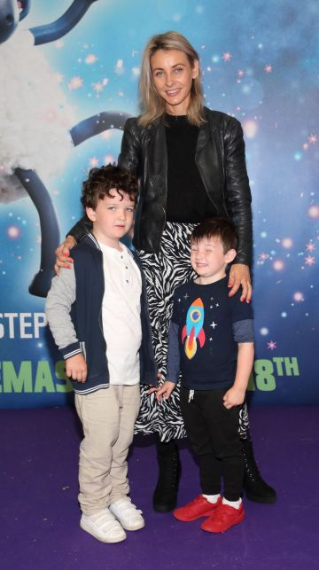 Pauline Moran, Theo Moran and Roch Moran  at the special preview screening of Shaun the Sheep at the Odeon Cinema In Point Square, Dublin.  Pic: Brian McEvoy Photography