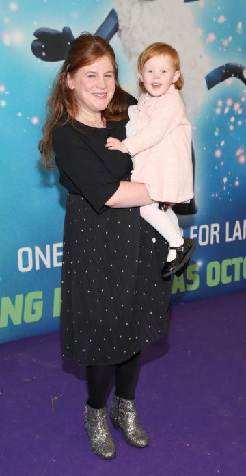 Aisling O'Brien and Eloise Ridgeway at the special preview screening of Shaun the Sheep at the Odeon Cinema In Point Square, Dublin.  Pic: Brian McEvoy Photography