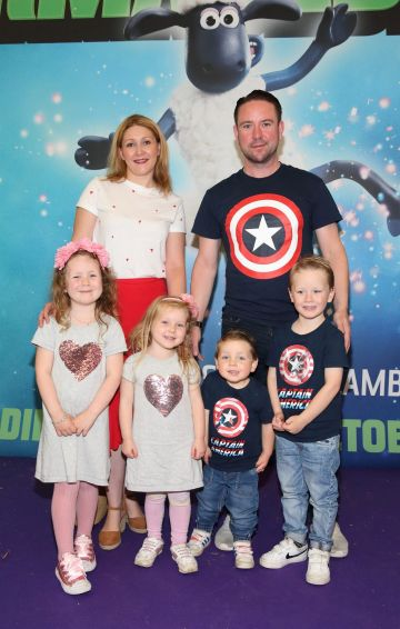 Lorraine Stafford, Leon Stafford, Savannah Stafford, Tippi Stafford, Maverick Stafford and Blaise Stafford  at the special preview screening of Shaun the Sheep at the Odeon Cinema In Point Square, Dublin.  Pic: Brian McEvoy Photography