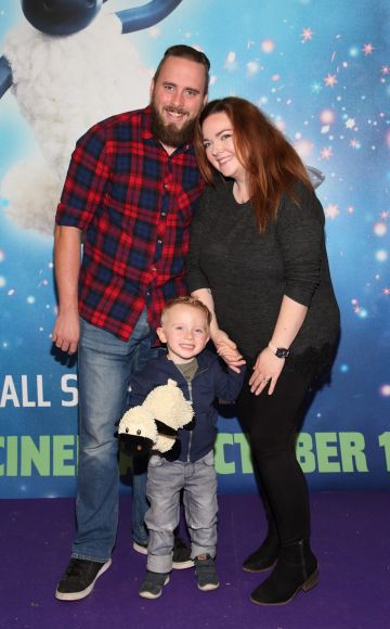 Shane Brady, Amy Brady and Eirick Brady  at the special preview screening of Shaun the Sheep at the Odeon Cinema, Point Square, Dublin.  Pic: Brian McEvoy Photography