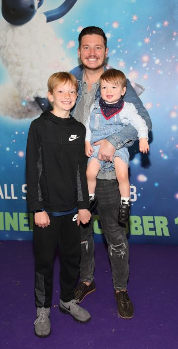 Baileigh Rock, Keith Rock and Presleigh Rock at the special preview screening of Shaun the Sheep at the Odeon Cinema In Point Square,Dublin Pic Brian McEvoy Photography No Repro fee for one use