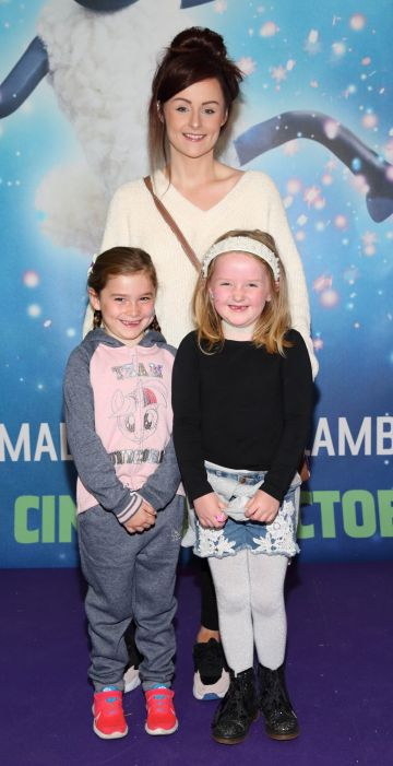 Emily Smullen, Daisy Morris and Claire Morris at the special preview screening of Shaun the Sheep at the Odeon Cinema In Point Square, Dublin.  Pic: Brian McEvoy Photography