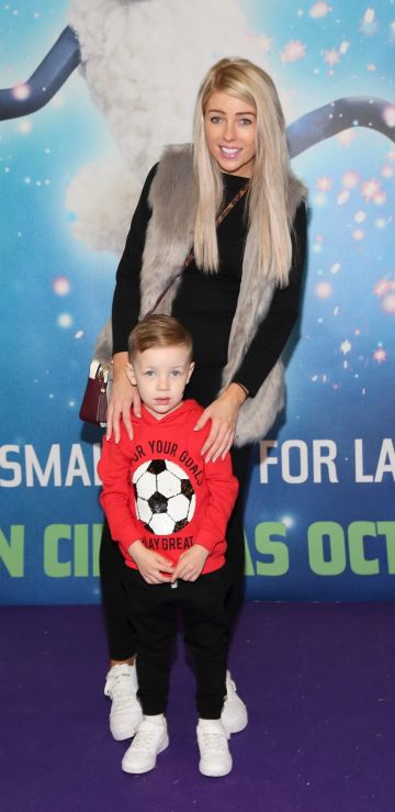 Kelly Kavanagh and Tucker Kavanagh  at the special preview screening of Shaun the Sheep at the Odeon Cinema In Point Square, Dublin.  Pic: Brian McEvoy Photography