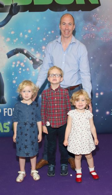 Gordon Ryan, Abigail Ryan, Ben Ryan and Isabelle Ryan at the special preview screening of Shaun the Sheep at the Odeon Cinema In Point Square, Dublin.  Pic: Brian McEvoy Photography