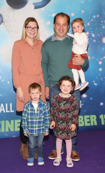 Michelle Mahon, Brian Mahon, Emer Mahon, Adam Mahon and Chloe Mahon at the special preview screening of Shaun the Sheep at the Odeon Cinema In Point Square, Dublin.  Pic: Brian McEvoy Photography