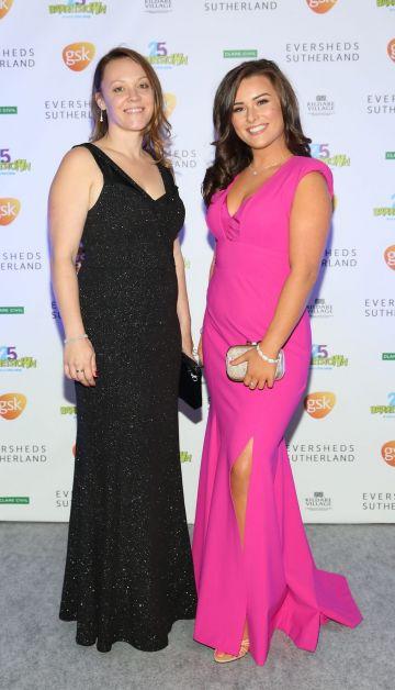 Sarah Gordon and Heidi Molloy at the Barretstown 25th Anniversary Gala Ball at the RDS, Basllsbridge, Dublin.  Pic: Brian McEvoy Photography
