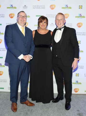 James Wall, Julie Doherty and Barry McEntee  at the Barretstown 25th Anniversary Gala Ball at the RDS, Basllsbridge, Dublin.  Pic: Brian McEvoy Photography