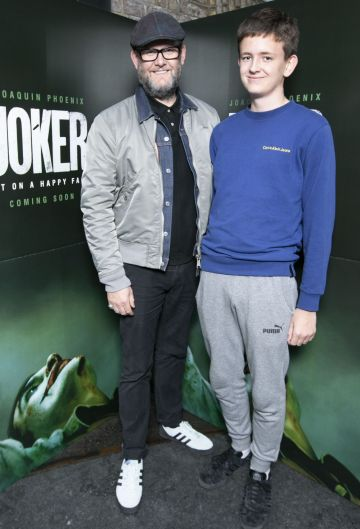 Brian O'Malley and Jack O' Malley at the special 70mm screening of Todd Phillips Joker at the IFI Dublin. Pic: Brian McEvoy Photography
