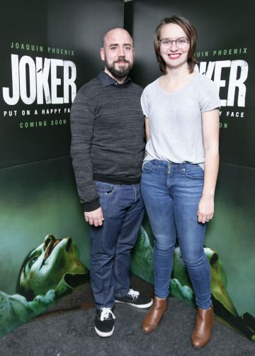 Joey Farrell and Brighid Farrell at the special 70mm screening of Todd Phillips Joker at the IFI Dublin. Pic: Brian McEvoy Photography