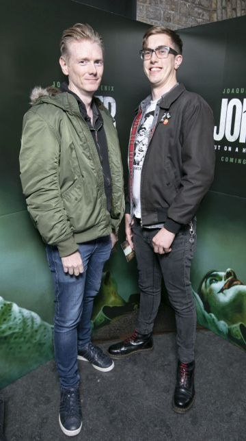 Ronan Cassidy and Greg Burrowes at the special 70mm screening of Todd Phillips Joker at the IFI Dublin. Pic: Brian McEvoy Photography
