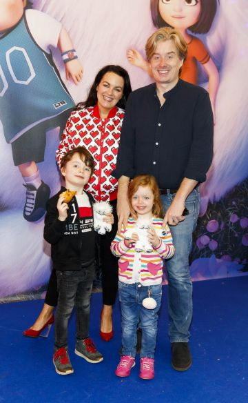Triona McCarthy with husband Will and children Max and Mini pictured at a special preview screening of DreamWorks Animation ABOMINABLE at Odeon Point Square, Dublin. Picture Andres Poveda