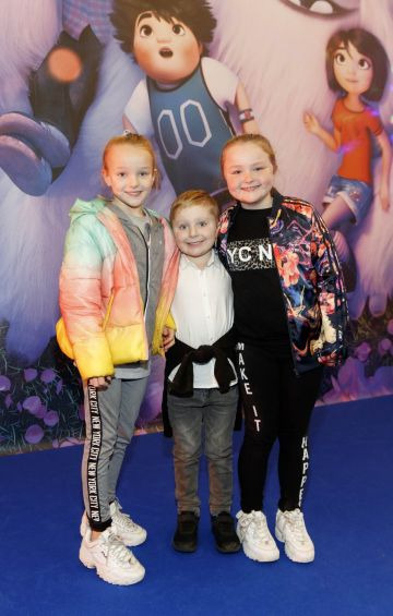 Twins Mia and Ava Bailey (9) and brother Jake Bailey (6) pictured at a special preview screening of DreamWorks Animation ABOMINABLE at Odeon Point Square, Dublin. Picture Andres Poveda
