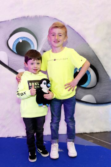Jackson Fitzsimmons (3) and Lewis O'Reilly (5) pictured at a special preview screening of DreamWorks Animation ABOMINABLE at Odeon Point Square, Dublin. Picture Andres Poveda