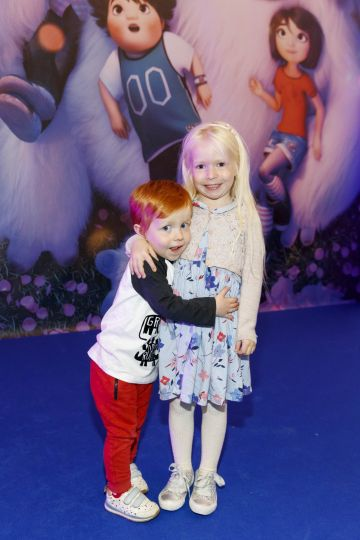 Sean (2) and Fraya Corban (5) pictured at a special preview screening of DreamWorks Animation ABOMINABLE at Odeon Point Square, Dublin.  Picture Andres Poveda