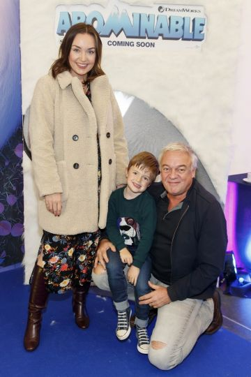 Ellen Kavanagh with Cooper and Conrad Jones pictured at a special preview screening of DreamWorks Animation ABOMINABLE at Odeon Point Square, Dublin. Picture Andres Poveda