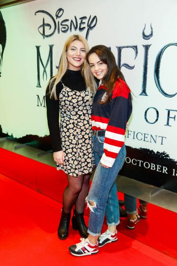 """Morgan Daumy and Alanah Bracken pictured a the special preview screening of Disney's """"Maleficent: Mistress of Evil' at the Light House Cinema, Dublin. Picture: Andres Poveda"""