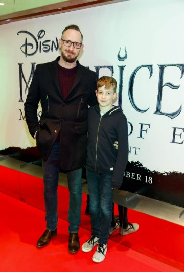 """Cathal Dineen and Cormac Dineen (11) pictured a the special preview screening of Disney's """"Maleficent: Mistress of Evil' at the Light House Cinema, Dublin. Picture: Andres Poveda"""