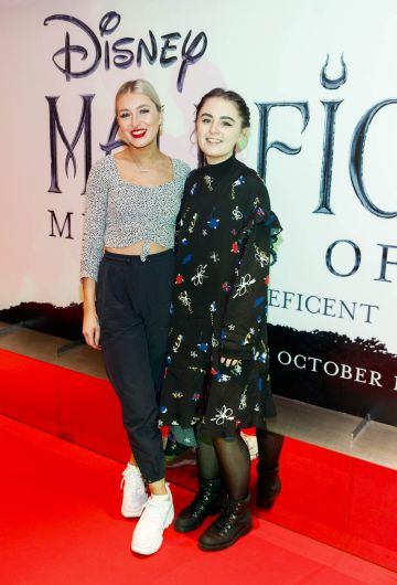 """Caoimhe Mullally and Eva Atkinson pictured a the special preview screening of Disney's """"Maleficent: Mistress of Evil' at the Light House Cinema, Dublin. Picture: Andres Poveda"""