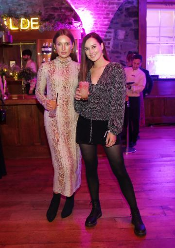Roz Purcell and Rebecca Purcell pictured at the exclusive global launch of Wilde Irish Gin at The Cellar Bar. Photograph: Leon Farrell / Photocall Ireland