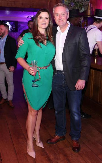 Fiona and Victor Burke pictured at the exclusive global launch of Wilde Irish Gin at The Cellar Bar last night. Photograph: Leon Farrell / Photocall Ireland