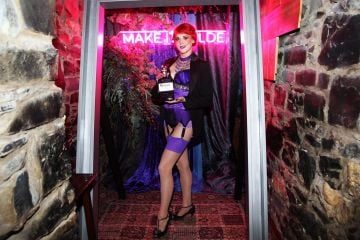 Foxy P.Cox pictured at the exclusive global launch of Wilde Irish Gin at The Cellar Bar last night. Photograph: Leon Farrell / Photocall Ireland