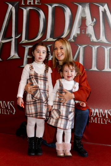 Lisa Brady Breslin with Lana-Rose (4) and Layla Bresslin (3) pictured at a special preview screening of The Addams Family at the Light House Cinema, Dublin.  Picture: Andres Poveda