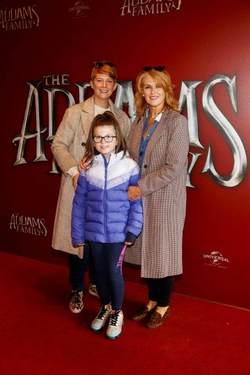 Siobhan and Clodagh O'Hea (9) and Roisin O'Hea pictured at a special preview screening of The Addams Family at the Light House Cinema, Dublin.  Picture: Andres Poveda
