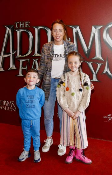 Kelly Carney with Frankie Grace (5) and Kayla Duffy (9) pictured at a special preview screening of The Addams Family at the Light House Cinema, Dublin.  Picture: Andres Poveda