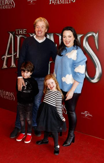 Triona McCarthy with husband William White and their children Max and Minnie pictured at a special preview screening of The Addams Family at the Light House Cinema, Dublin.  Picture: Andres Poveda