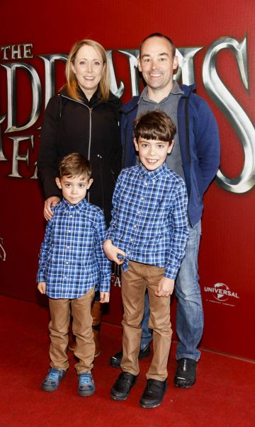 Clare and Padraig McLoughlin with Caleb (5) and Dylan (8) pictured at a special preview screening of The Addams Family at the Light House Cinema, Dublin.  Picture: Andres Poveda